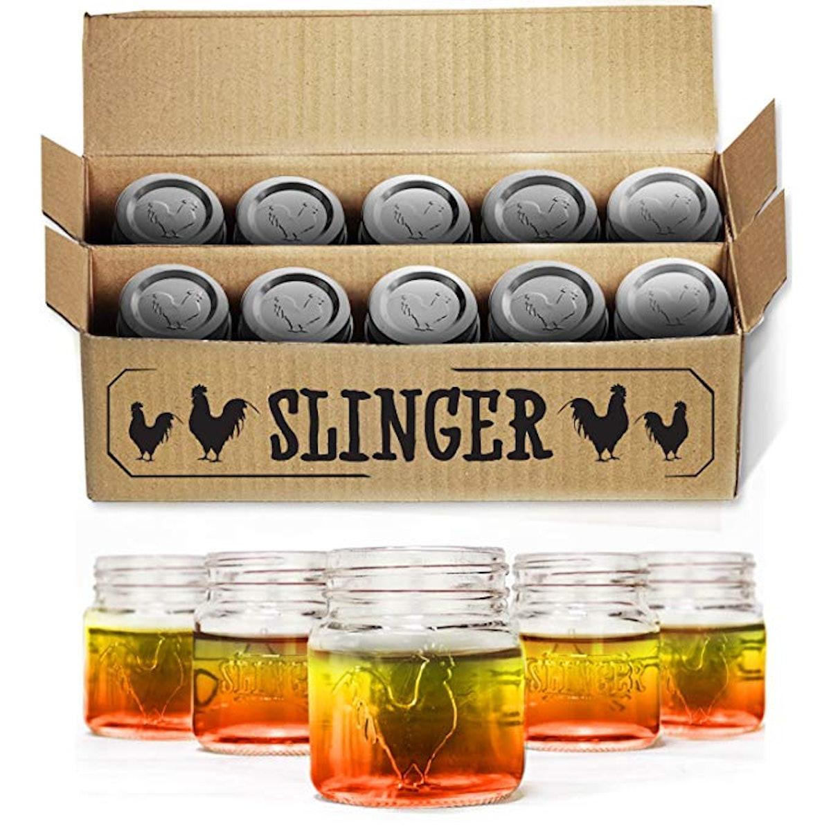 The Slinger Rooster Mason Jar Shot Glasses Set