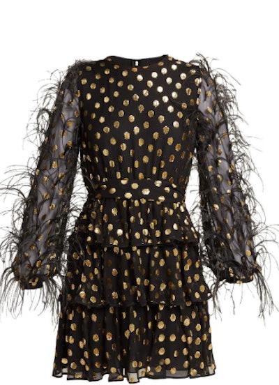 Feather Embellished Mini Dress