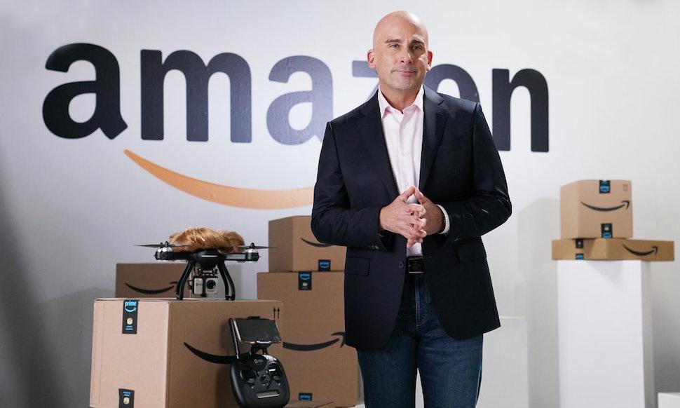 Hasil gambar untuk Steve Carell asSNL's Jeff Bezos taunts Trump over Amazon's new headquarters