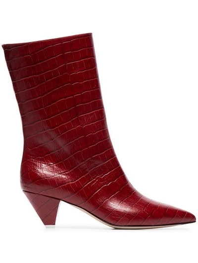 croc-embossed low-heeled leather boots