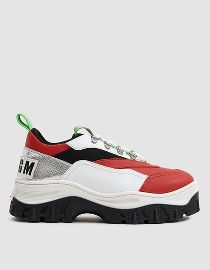 MSGM Color Block Tractor Sneaker in Red/Silver