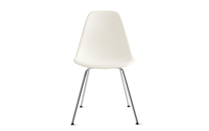 Eames Molded Plastic 4-Leg Side Chair (DSX), White, Chrome