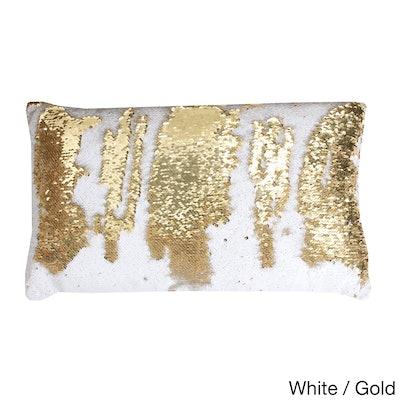 Reversible 12x20-inch Oblong Sequin Throw Pillow