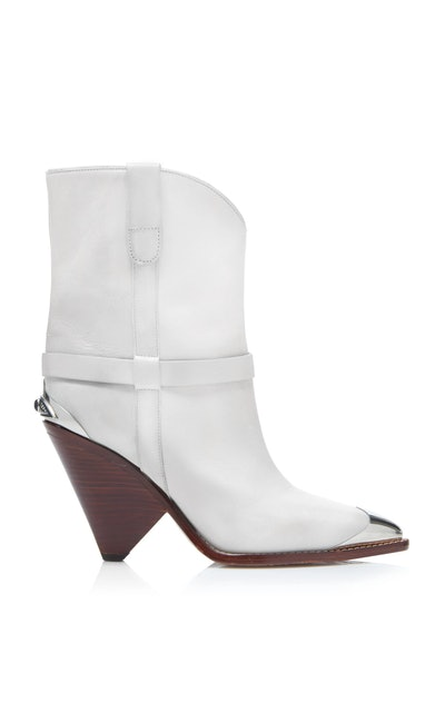 Lamsy Leather Cap-Toe Ankle Boots