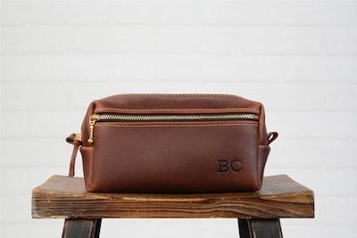 Monogram Leather Mens Toiletry Bag