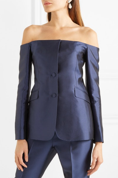 Gabriela Hearst Dorothea Off-The-Shoulder Silk And Wool-Blend Blazer