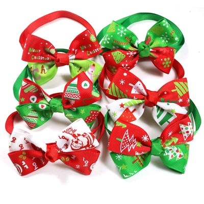 Christmas Dog & Cat Bow Ties, 12pcs/Pack