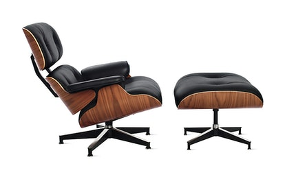 Eames Lounge Chair and Ottoman, Standard, Walnut, Black Vicenza Leather