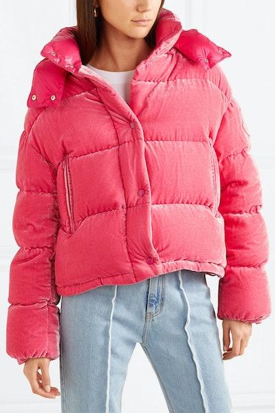 Quilted Velvet Down Jacket