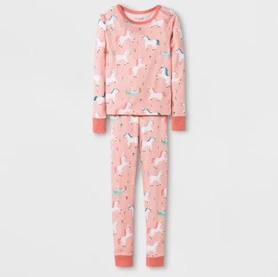Girls' Unicorn Graphic Tight Fit Pajama Set