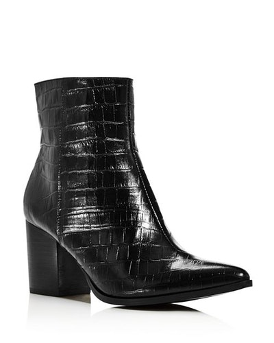Grounded Croc-Embossed Leather Booties
