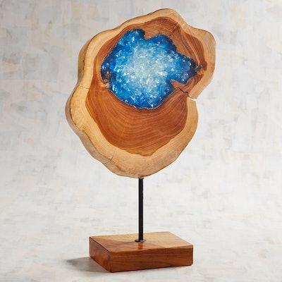 Wood & Blue Resin Sculpture