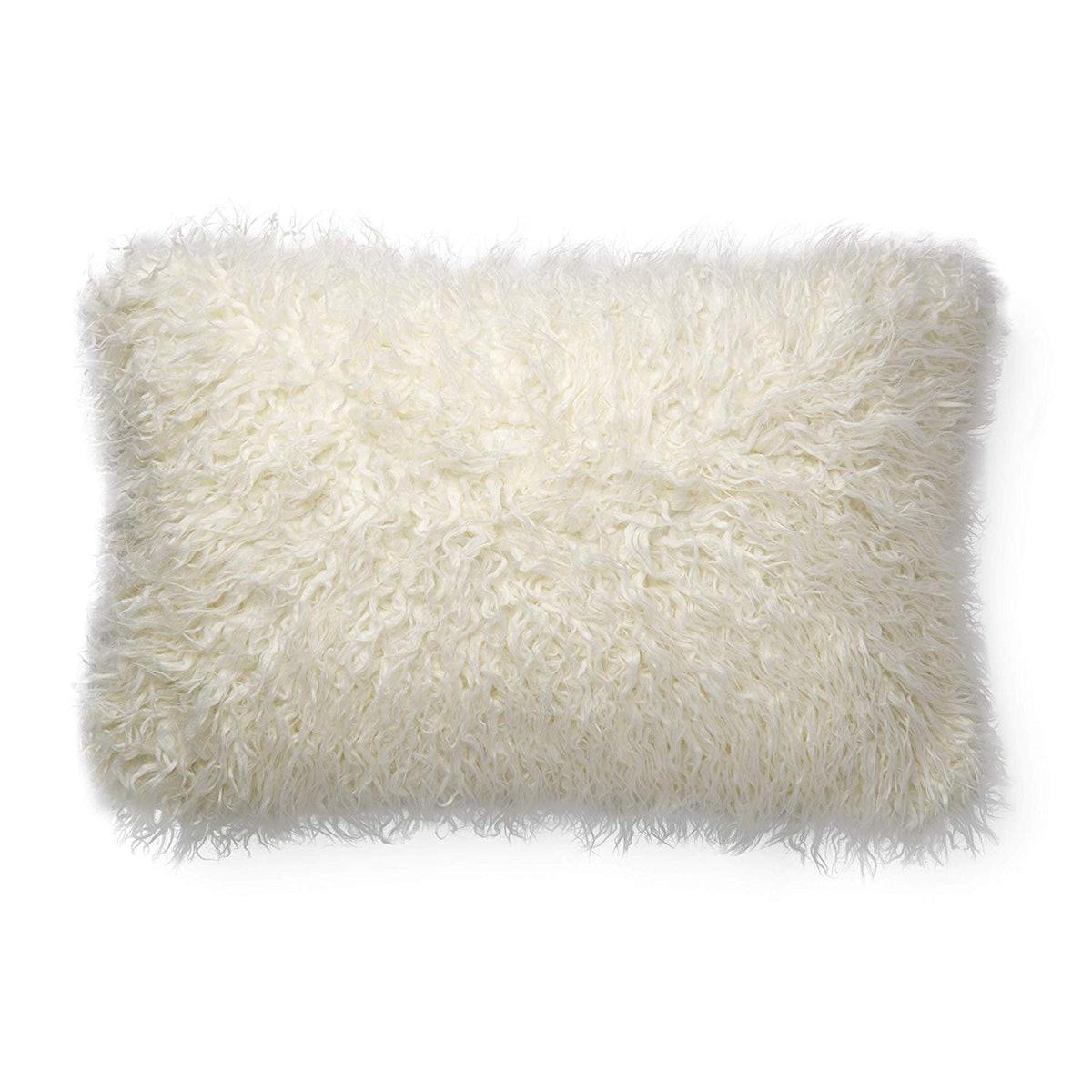 Faux Mongolian Fur Lumbar Pillow, White