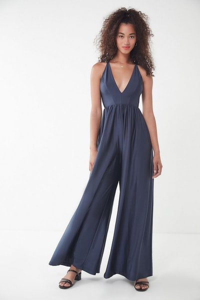 UO Gia Plunging Shimmer Jumpsuit