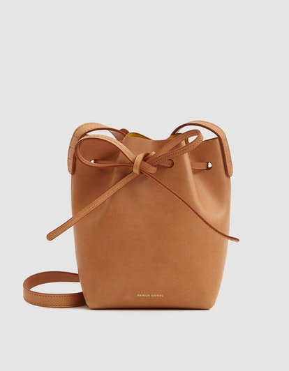 Mansur Gavriel Mini Mini Bucket Bag in Camello/Sun