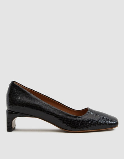 By Far Shoes Agatha Leather Heel in Black Lizard