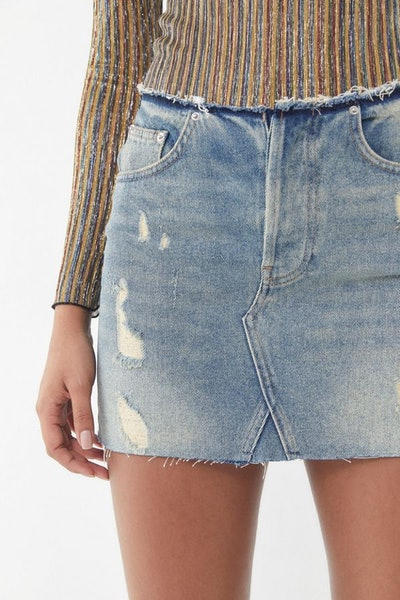 BDG Denim Raw-Edge Mini Skirt