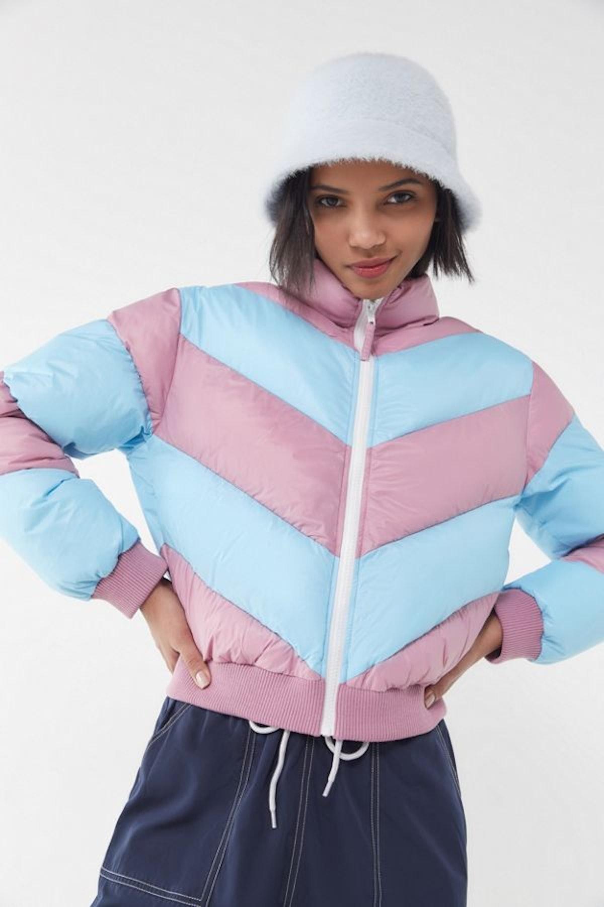 UO Demi Chevron Cropped Puffer Jacket
