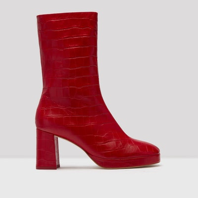 Carlota Red Croc Leather Boots