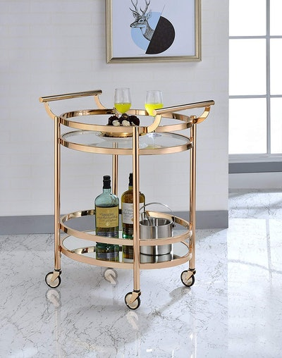 Clear Glass and Rose Gold Lakelyn Serving Cart