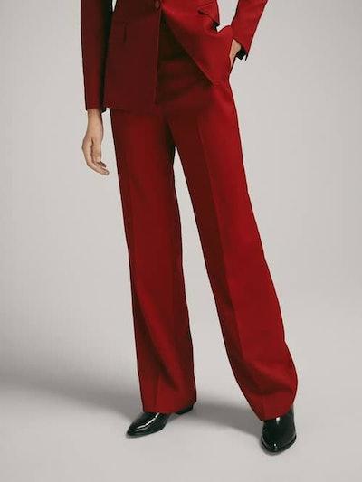 Semi-Flared Wool Flannel Trousers