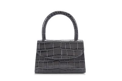 Mini Dark Grey Croco Embossed Bag