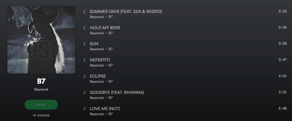 Is Beyonce Releasing A New Album? A New 'B7' Spotify Playlist Has