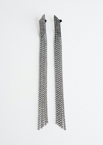 Hanging Rhinestone Fringe Earrings