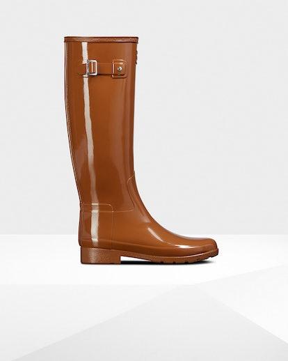 Women's Refined Leopard Print Lining Slim Fit Tall Rain Boots: Thicket