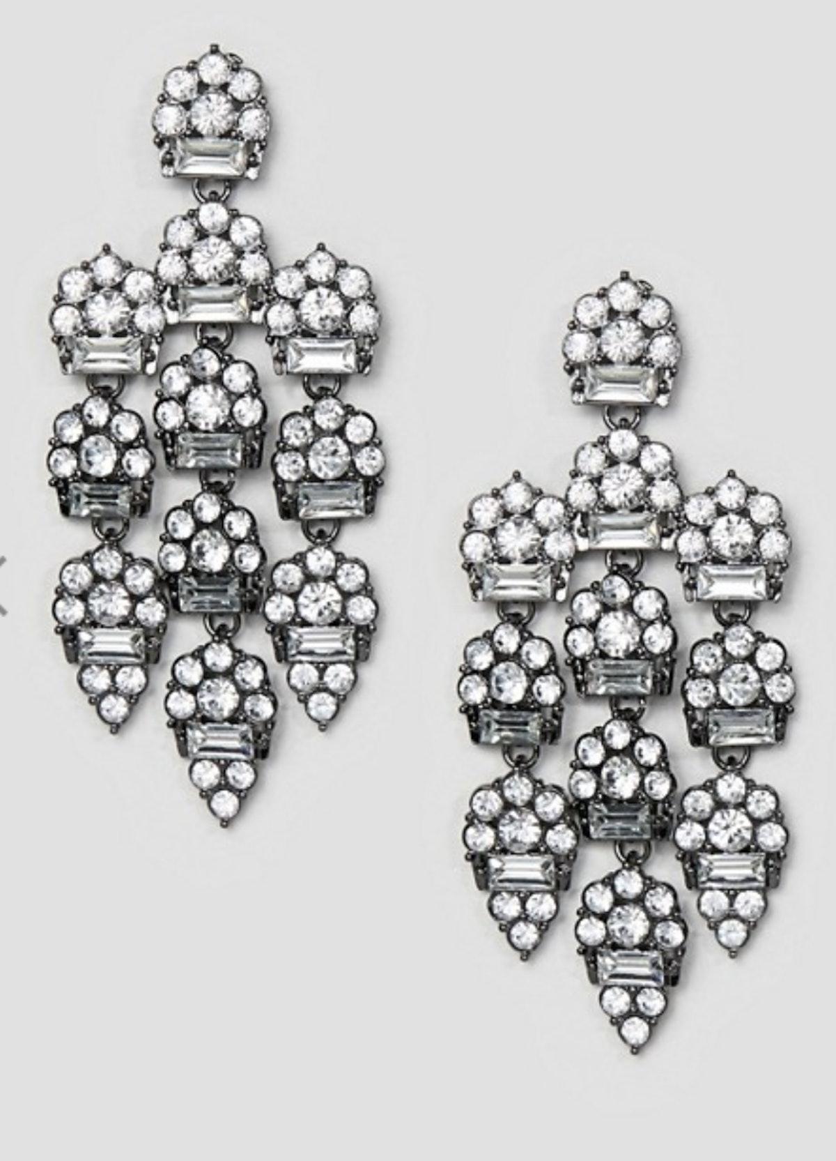 ASOS DESIGN Earrings In Luxe Crystal Design in Gunmetal