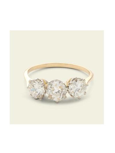 Midcentury Diamond Trilogy Ring