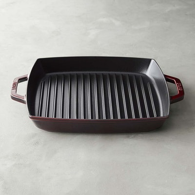 Staub Cast-Iron Double-Handled Grill Pan in Grenadine