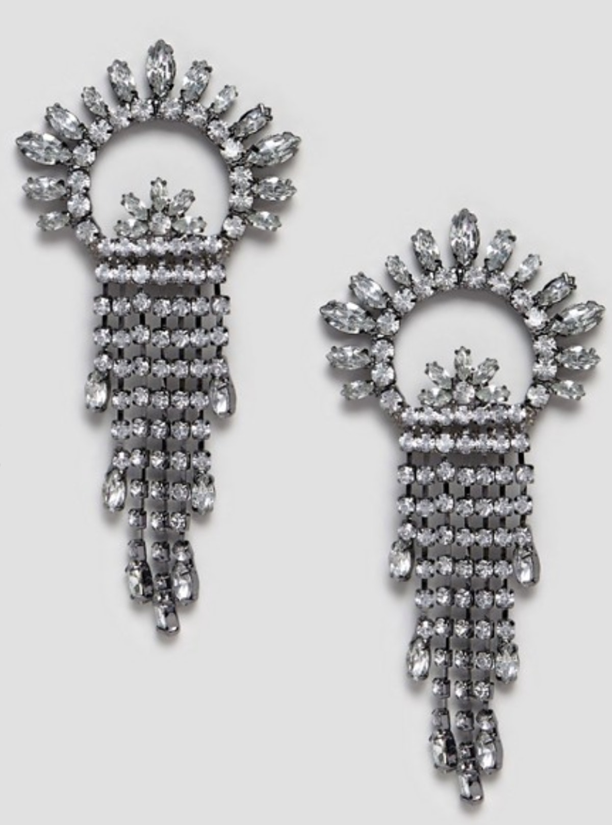 ASOS DESIGN Earrings With Crystal Fan And Strand Design in Gunmetal