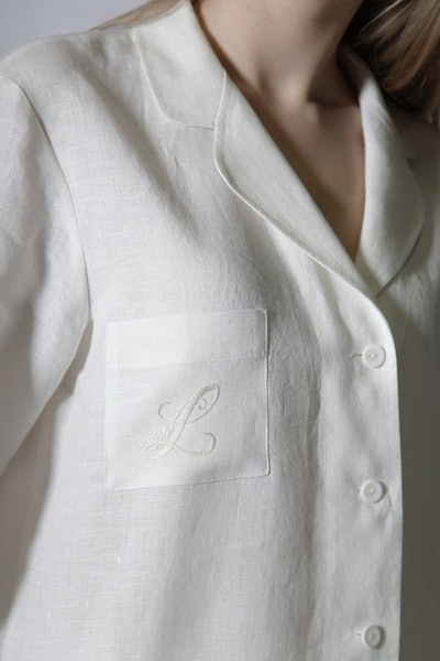 LG Linen Luxury Pure Linen Personalized Pajama Shirt for Woman with Embroidered Monogram