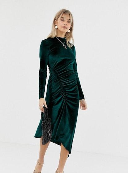 Reclaimed Vintage Inspired Midi Velvet Dress With Ruched Hem