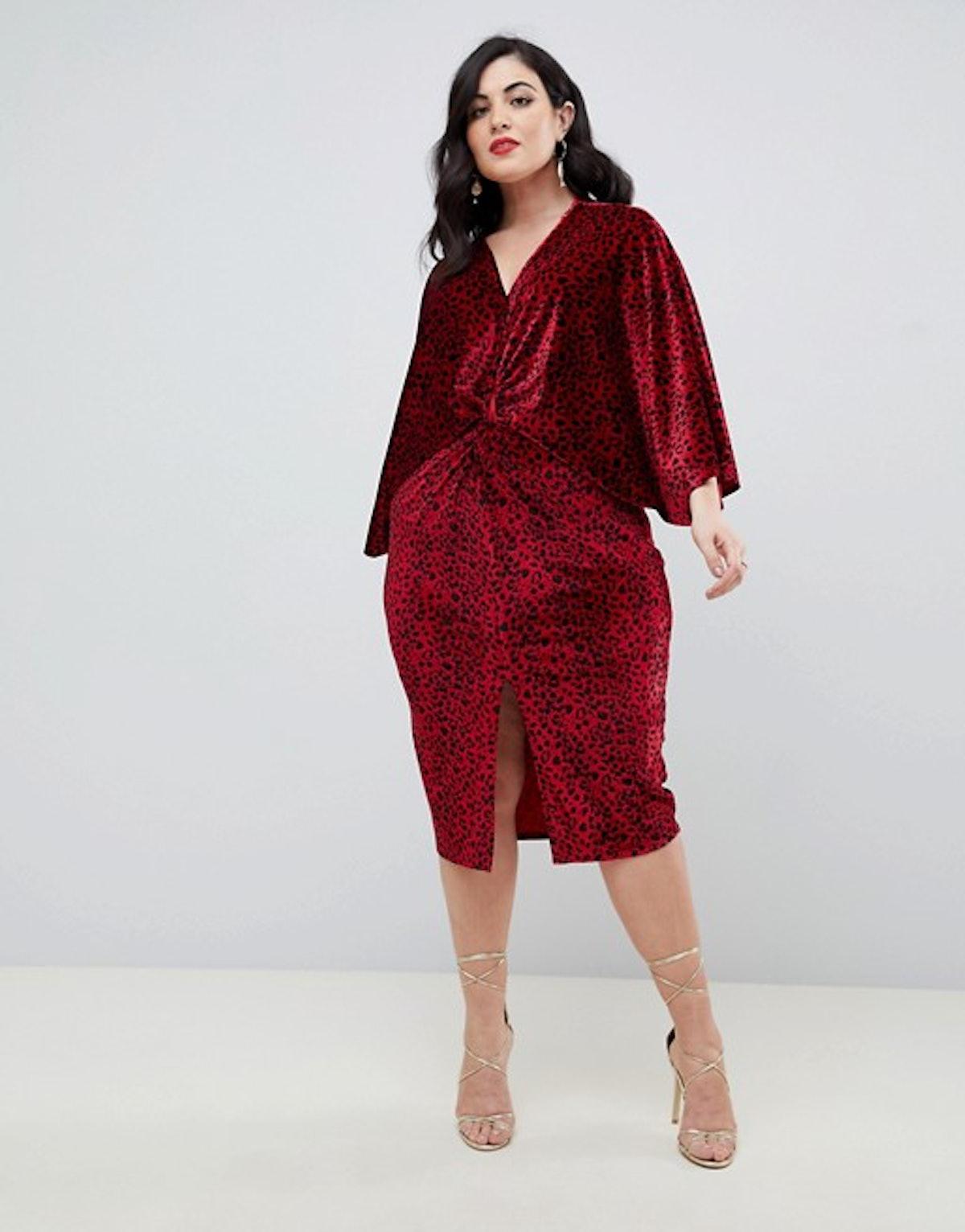 Flounce London Plus Velvet Twist Front Midi Dress In Red Animal