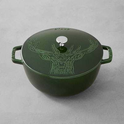 Staub Cast-Iron Essential French Oven Stag Design in Basil