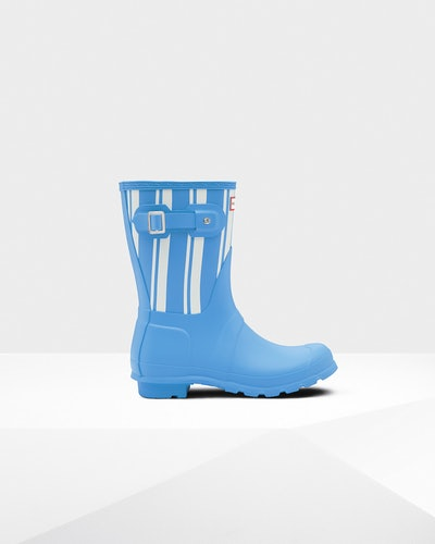 Women's Original Garden Stripe Short Rain Boots: Forget Me Not/White