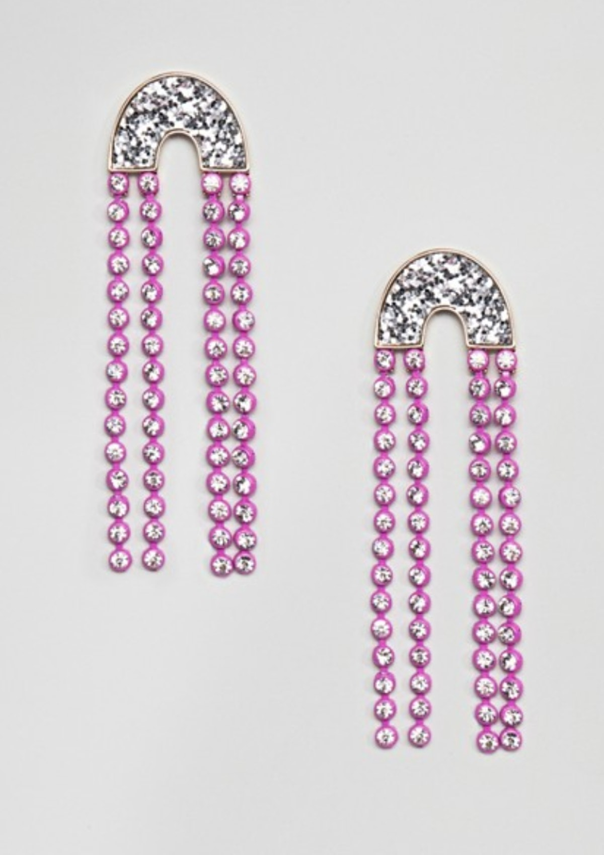 ASOS DESIGN Earrings With Jewel Strands And Glitter