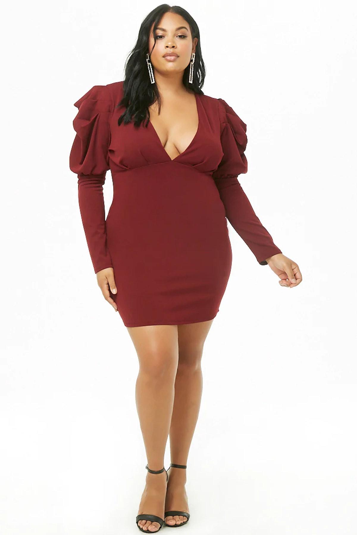 Plus Size Pleated-Sleeve Mini Dress