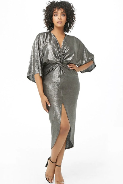 Plus Size Metallic Twist-Front Dress