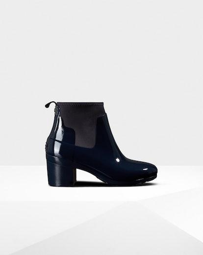 Women's Refined Gloss Mid Heel Boots: Navy