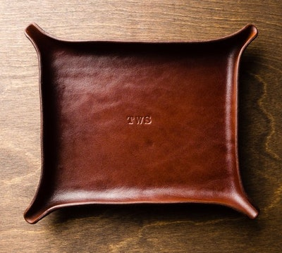 Karl Von Artistry Monogrammed Large Leather Catchall