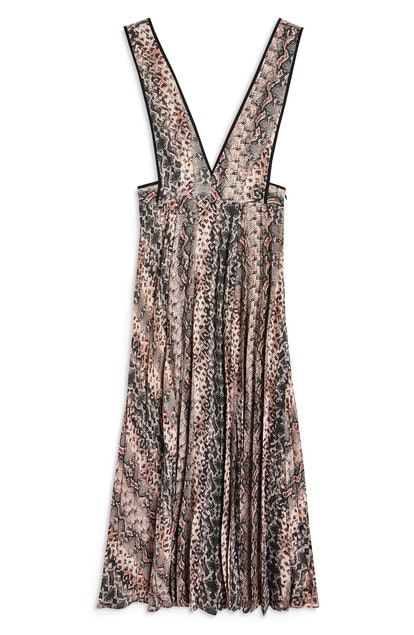 Topshop Snake Print Pleated Dress