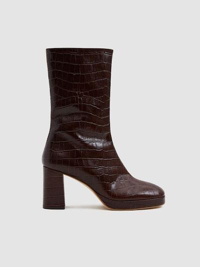 Carlota Croc Mid-Calf Boot