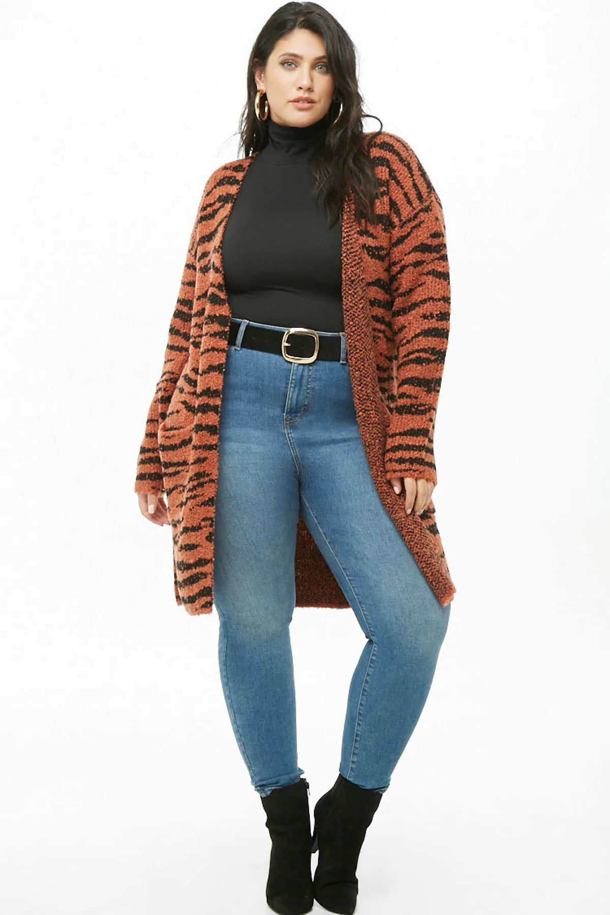 Plus Size Loop-Knit Tiger Print Cardigan