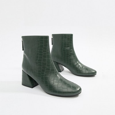 Flared Ankle Boot in Green Croc