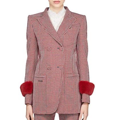 Fendi Fur-Trimmed Wool Double-Breasted Blazer