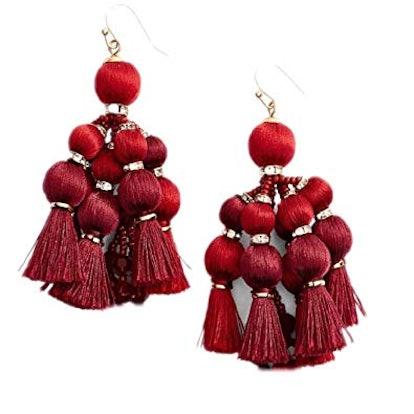 Pretty Poms Tassel Statement Earrings in Sumac Red