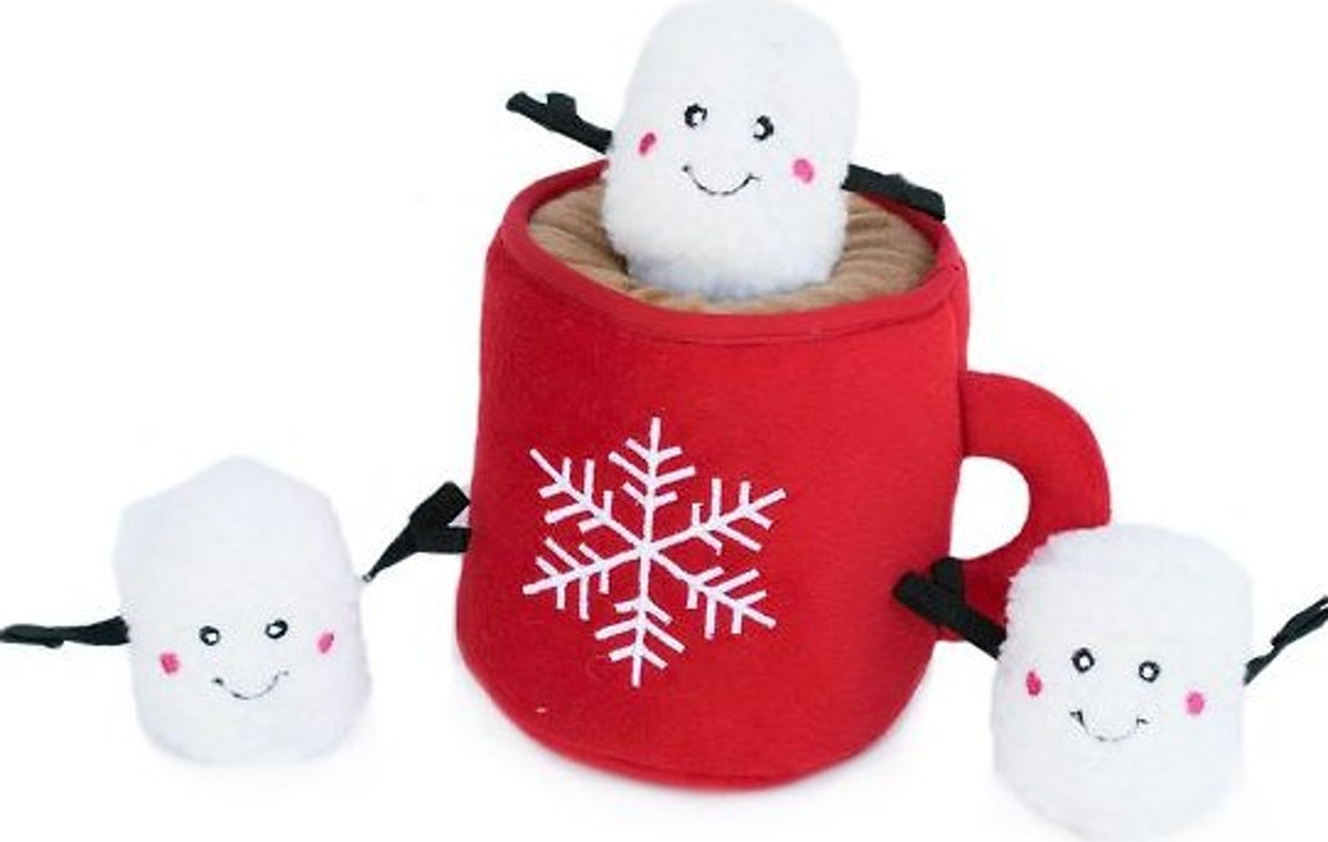 ZippyPaws Burrow Squeaky Hide & Seek Plush Dog Toy, Hot Cocoa